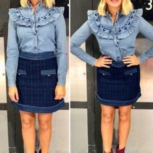 & Other Stories Ruffled Chambray Button …